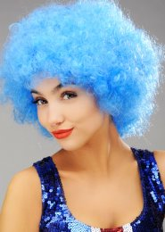 Bright Blue Curly Pop Wig