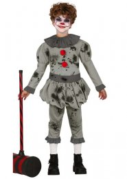 Kids Pennywise Style Scary Grey It Clown Costume