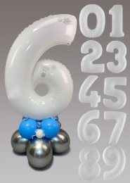 White and Silver Snowflake Large Number Balloon Centrepiece