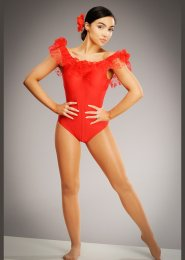 Womens Red Flamenco Dance Leotard