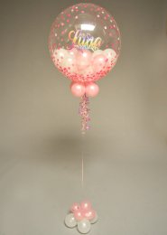 Personalised Pink 2nd Birthday Balloon Filled Bubble Balloon