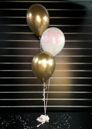 Gold Team Bride Hen Party 3 Balloon Cluster