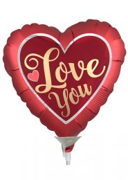 Inflated Red Heart Gold Love You Mini Filled Balloon on Stick