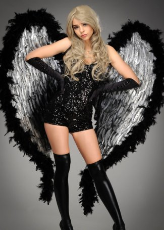 Deluxe Large Diamante Black and Silver Nirvana Festival Wings