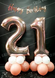 Rose Gold 21st Number Balloon Centrepiece Set