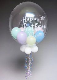 Personalised Mixed Pastel Helium Bubble Balloon