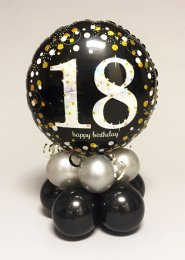 Black And Silver 18th Birthday Balloon Centrepiece
