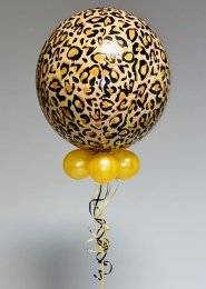 Inflated Leopard Print Orbz Helium Balloon with Collar