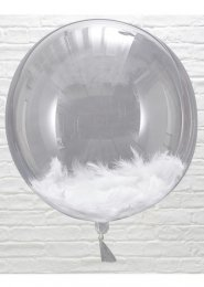 Large White Feather Clear Bubble Orb Balloons Pk3