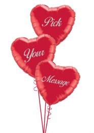 Inflated 3 Personalised Red Valentines Hearts Balloon Cluster