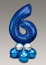 Chrome Blue and Silver Large Number 6 Balloon Centrepiece