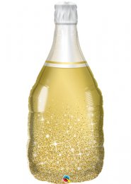 Inflated Gold Champagne Bottle Shaped Helium Balloon