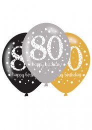 Black and Gold 80th Birthday Party Balloons Pk6