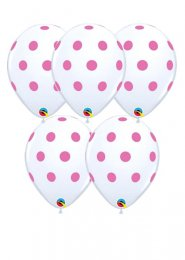 White and Pink Polka Dot Party Balloons Pack 5