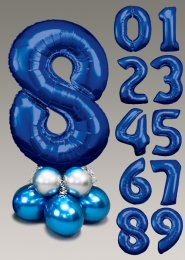 Chrome Blue and Silver Large Number Balloon Centrepiece