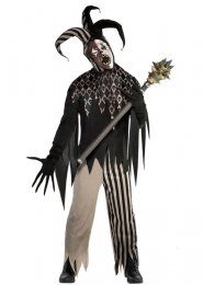 Mens Halloween Evil Twisted Jester Costume