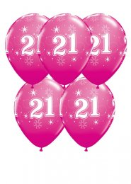 Bright Pink 21st Birthday Party Balloons Pack 5