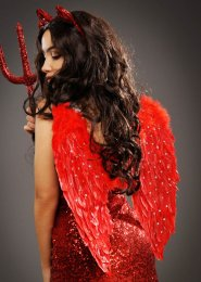 Deluxe Diamante Red Feather Fallen Angel Wings
