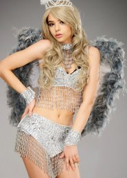 Deluxe Sparkle Grey and White Angel Feather Wings