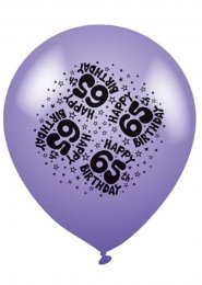 Bright Multi-coloured 65th Birthday Party Balloons Pk8