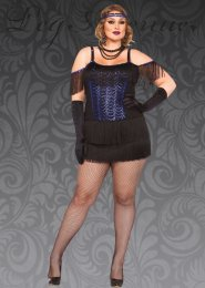 Womens Plus Size 1920s Blue Flapper Girl Costume