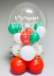 Personalised Christmas Nice List Bubble Balloon Centrepiece