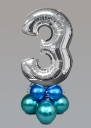 Inflated Medium Silver Chrome Green Number 3 Balloon Centrepiece