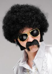 Mens 1970s Disco Black Frizzy Afro Wig