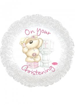 Fizzy Moon Bear Pink Christening Helium Balloon