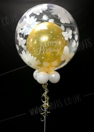 Black And Gold 70th Birthday Deco Bubble Balloon