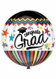 Inflated Congrats Grad Orbz Graduation Foil Helium Balloon