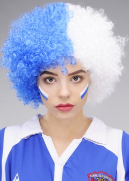 Blue and White Curly Carlisle Football Supporters Wig