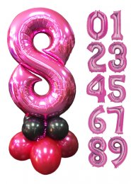 Pink and Black Large Number Balloon Centrepiece