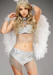Deluxe Sparkle White Angel Diamante Feather Wings