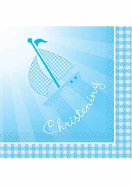 Blue Christening Booties Party Napkins Pk16