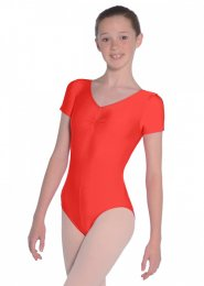 Red Jeanette Short Sleeve Dance Leotard