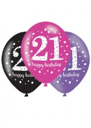 Pink and Black 21st Birthday Party Balloons Pk6