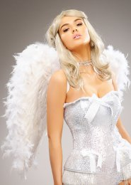Deluxe Sparkle Medium White Feather Angel Wings