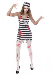 Womens Halloween Striped Zombie Convict Costume