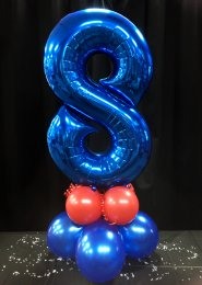 Metallic Blue Number 8 Balloon Centrepiece