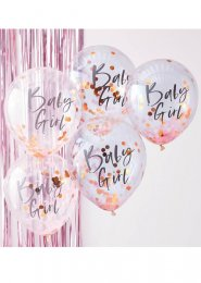 Baby Girl Pink and Rose Gold Confetti Balloons Pk5