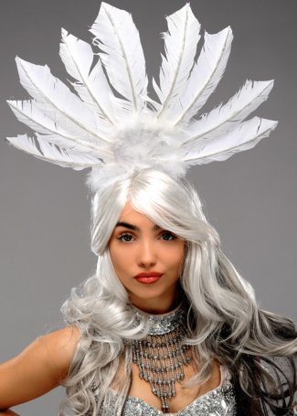 Luxury Silver and White Glitter Feather Festival Headpiece