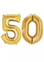Large Gold 50th Birthday Large Number Balloons on Weights