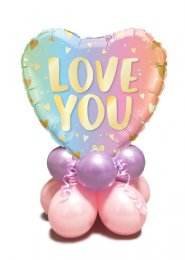 Pastel Rainbow Love You Inflated Balloon Centrepiece