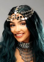 Metallic Silver Hair Chain Festival Coin Headpiece