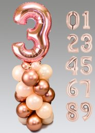 Large Deluxe Rose Gold Number Balloon Centrepiece Stack