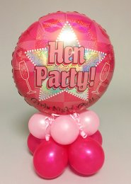 Pink Star Hen Party Inflated Balloon Centrepiece