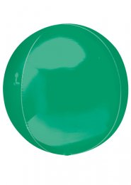 Inflated Metallic Green Orbz Helium Balloon