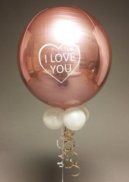 Inflated Rose Gold I Love You Orbz Helium Balloon with Collar