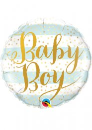 Inflated Blue Striped Baby Boy Helium Balloon